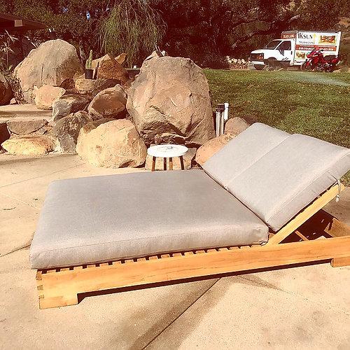 Teak Double Chaise Lounge With Sunbrella Cushion