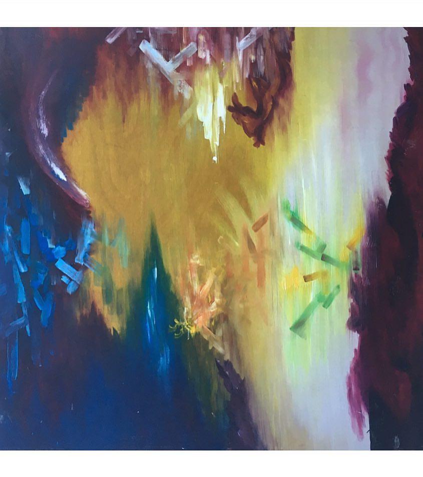 'Worlds', 2013, 100 x 100 cm, oil on board