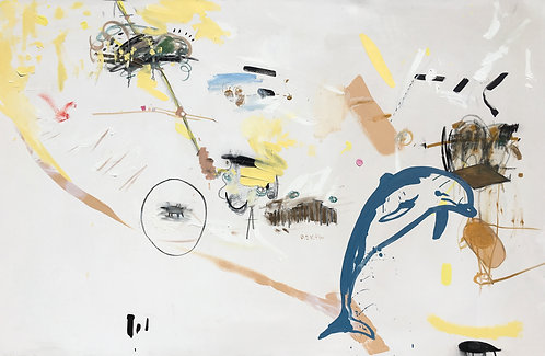 'Dolphin' print on canvas, 30 x 45 cm
