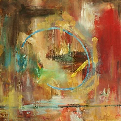 'Aqua Ring' print on canvas, 30 x 30 cm