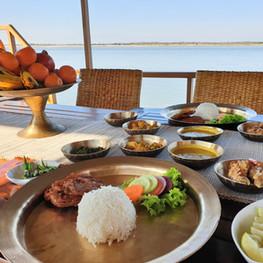 Assamese lunch served on M.V. Rudra Singha