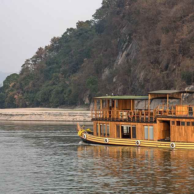M.V. Rudra Singha cruising on the Brahmaputra