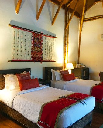 Diphlu River Lodge cottage featuring bamboo and woven adornments