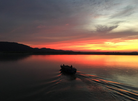 New Year's Day sunset on the Brahmaputra river cruise