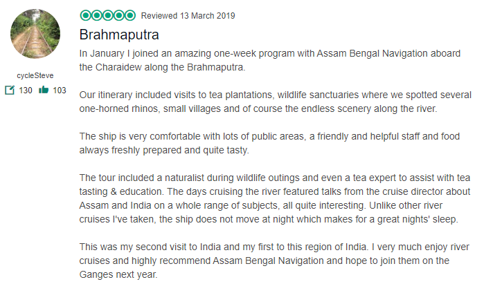 Guest review on Assam Bengal Navigation's ABN Charaidew II