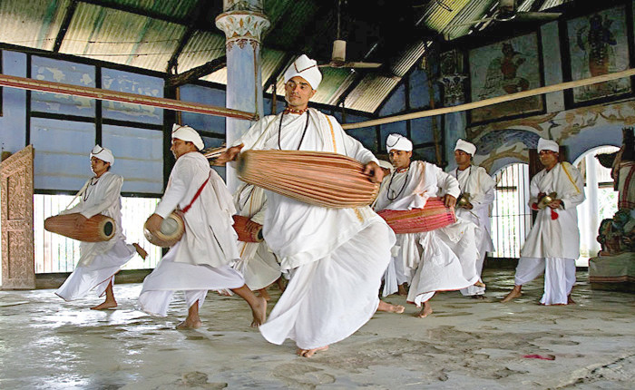 Monks dancing sattriya in Majuli