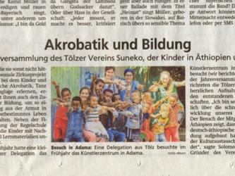 """""""Akrobatik und Bildung"""" - im Tölzer Kurier"""