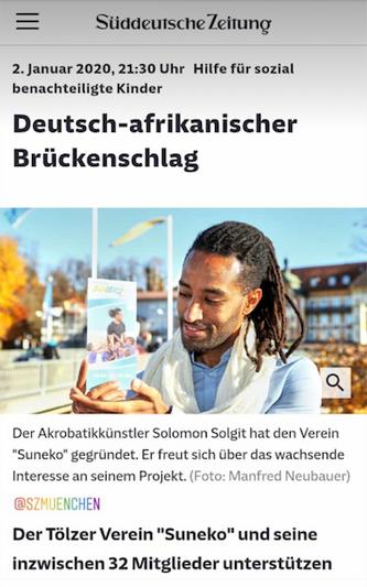 """""""Deutsch-afrikanischer Brückenschlag"""" - Artikel in der SZ"""