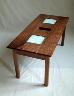 Walnut glass table