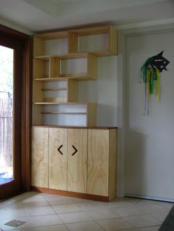 Plywood and silky oak storage unit