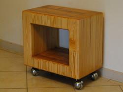 Pine cube on wheels