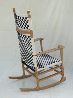 Oak rocking chair with cotton weave