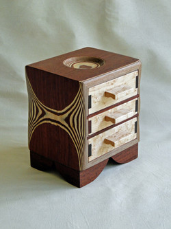 Jarrah and birds eye maple drawers