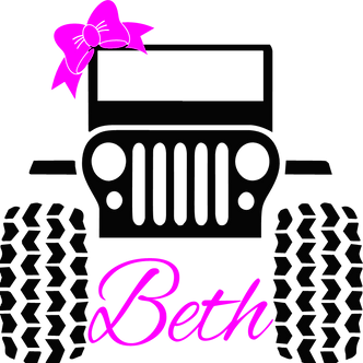 Jeep with Bow & Name