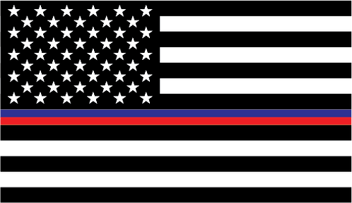 American Flag Support Police and Fire