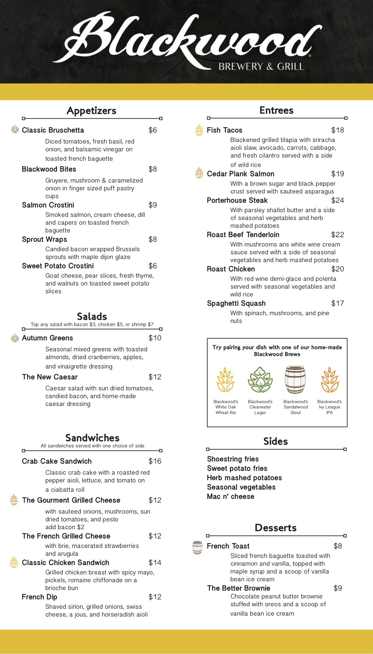 Blackwood Menu