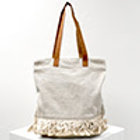 Fringe Tote in Cream Linen