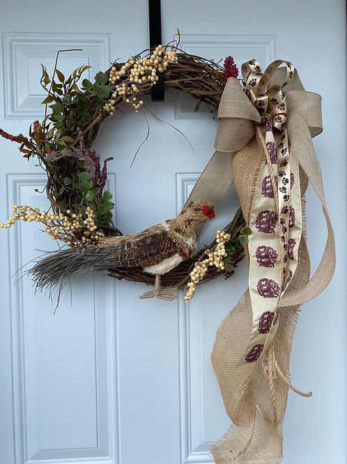 Wreath with berries and Pheasant
