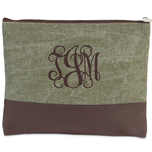 Customized Canvas Zippered Bag Olive/Chocolate