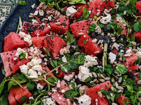 Watermelon, black olive & feta salad