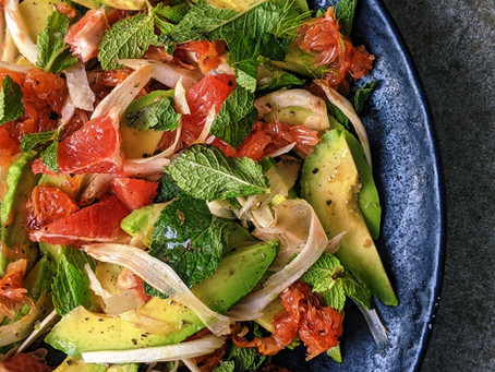 Avocado, mint, grapefruit & shaved fennel salad