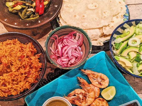 Prawn tortillas with Mexican rice and pickled onions