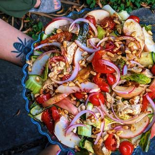 Roast chicken salad with a roasted garlic gravy dressing