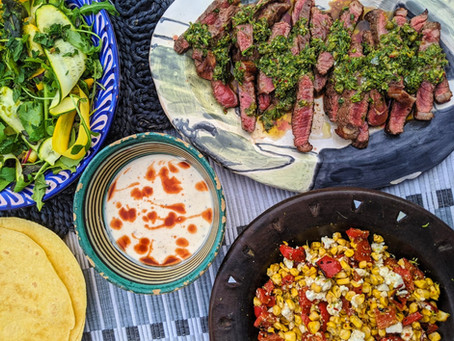 Chimichurri steak tacos with chargrilled sweetcorn & feta salsa