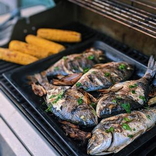 BBQ Sea Bream with charred shallots & cheats garlic aioli