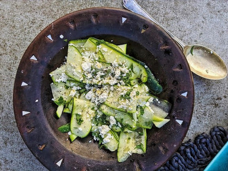 Raw courgette, lime, feta and mint salad