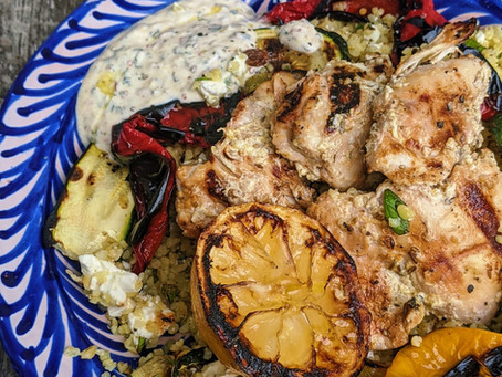 Yoghurt & cumin chicken thighs with charred vegatables & nutty bulgar