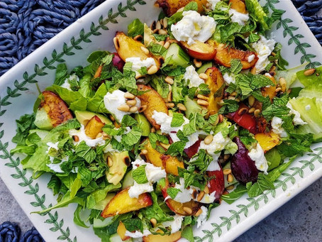 Grilled peach, pine nut and mozzerella salad