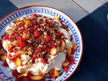 Amaretto marinated peach, raspberry and hazelnut pavlova with maple cream