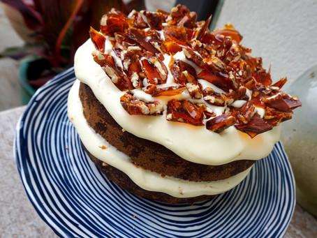 Carrot & orange cake with pecan praline