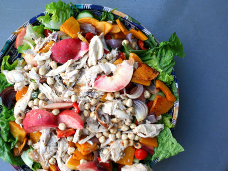 Leftover roast chicken and peach salad