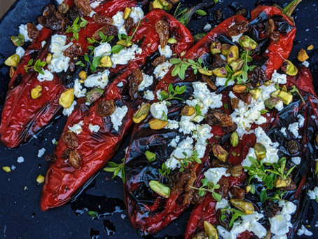 Chargrilled peppers with feta, sultanas & thyme