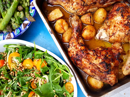 One pan baked chicken legs with lemon & garlic chicken fat potatoes