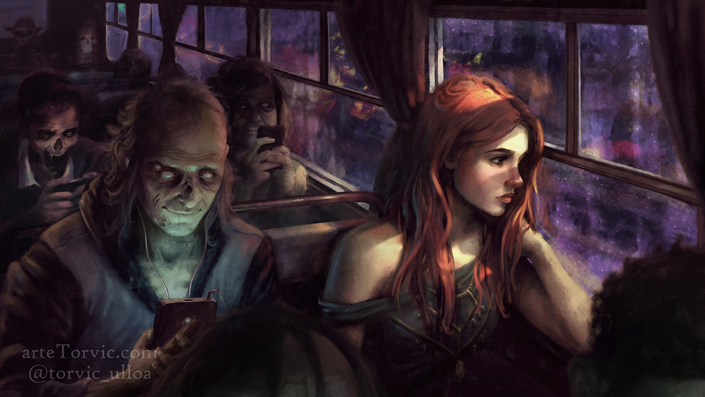 Redhead in bus full of Zombies
