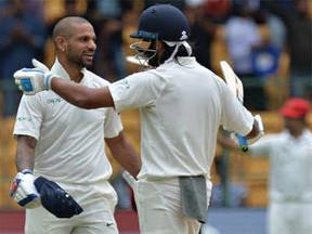 बेंगलुरु टेस्ट: धवन और विजय की सेंचुरी, भारत ने पहले दिन बनाए 6 विकेट पर 347 रन