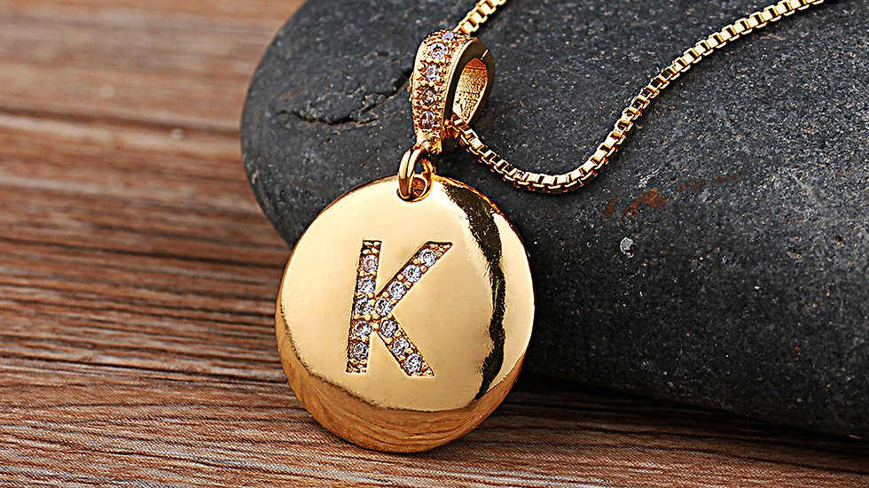 Top Quality Women Girls Initial Letter Necklace Gold 26 Letters