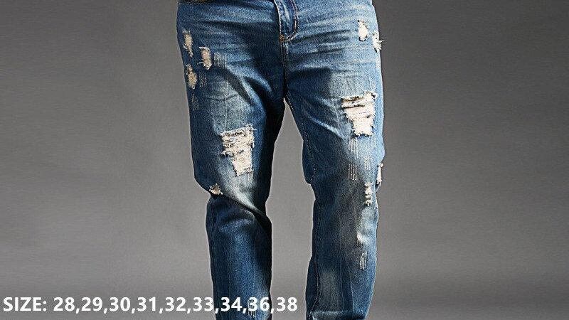 Ripped Jeans for Men Blue Black Denim Mens Jean