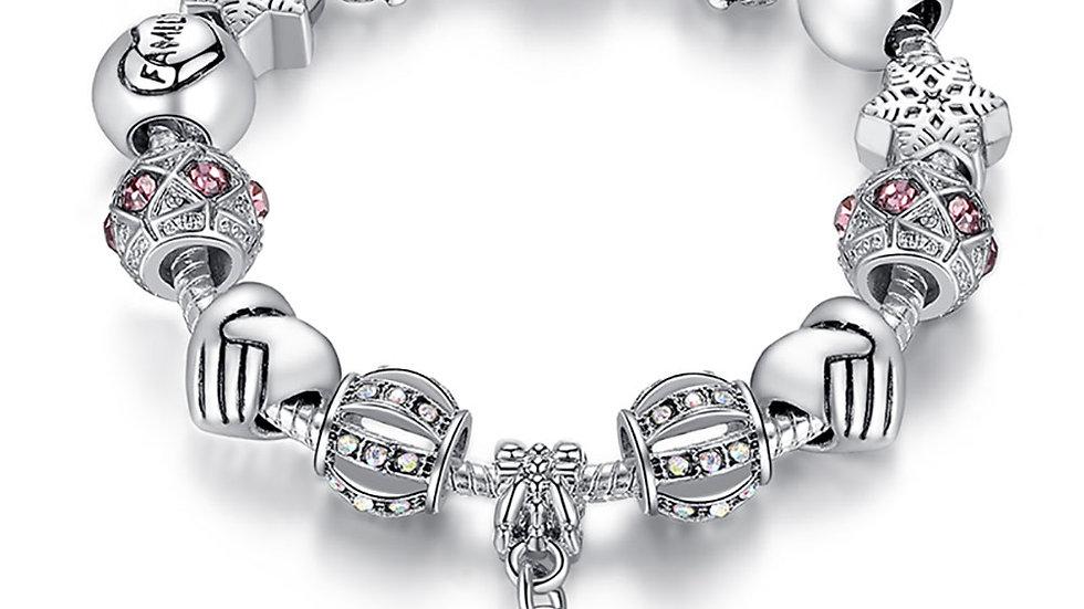 ELESHE Luxury Brand Women Bracelet Silver Color Crystal Charm