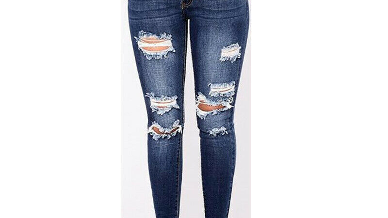 2020 Newest Hot Womens Stretch Skinny Ripped Hole Washed