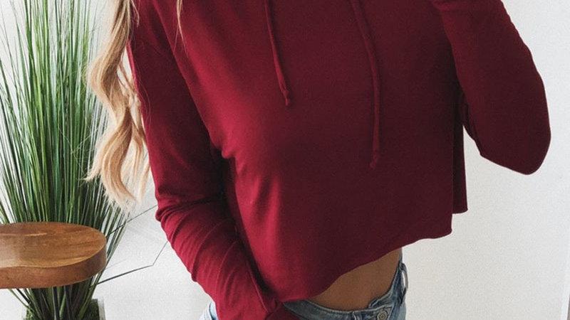 Women Hoodies Sweatshirts Ladies Crop Top Short Long Sleeve