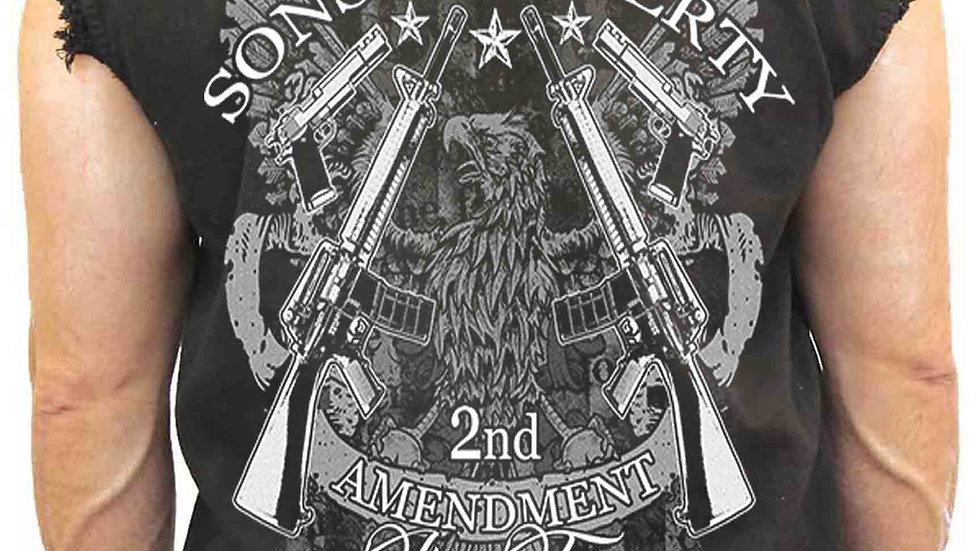 Men's Sleeveless Denim Shirt Sons of Liberty 2nd Amendment Biker