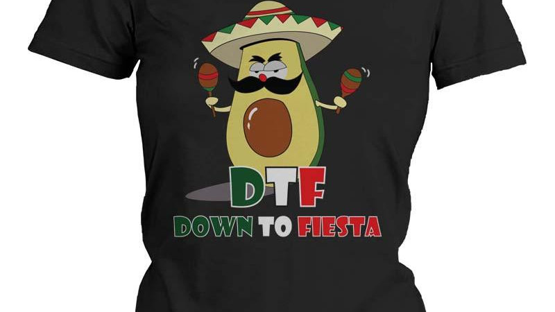 Funny Graphic Statement Womens Black T-Shirt - Down to Fiesta