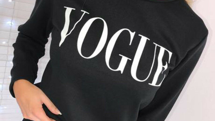 Womens VOGUE Print Hoodie Sweatshirt