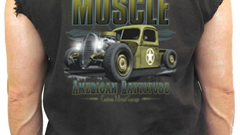Men's Sleeveless Denim Shirt Old School Muscle American Rattitude
