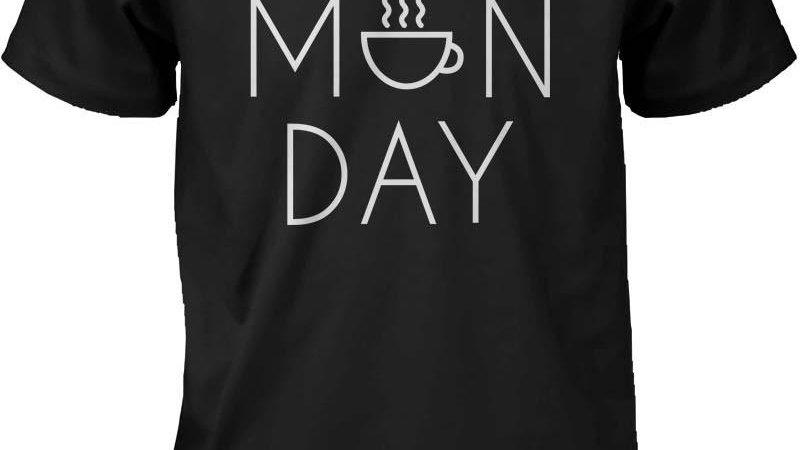 Funny Graphic Statement Mens Black T-Shirt - Monday