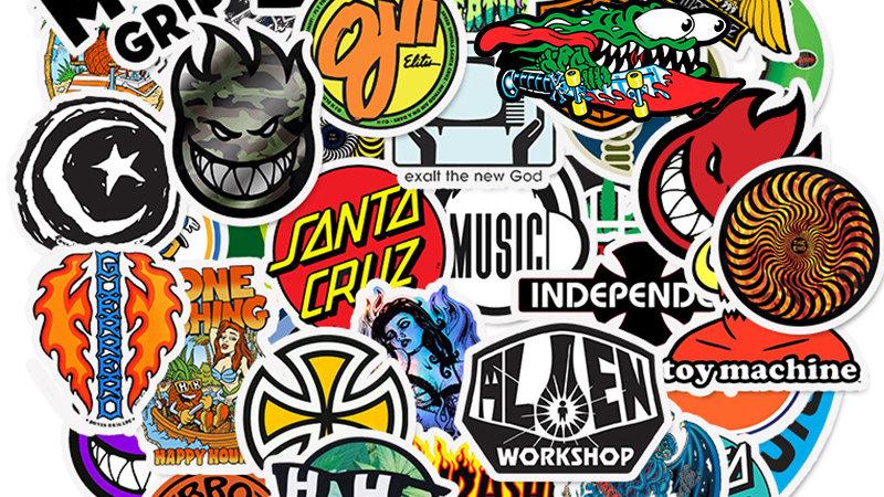 50pcs Skateboard Fashion Brand Logo Waterproof Sticker